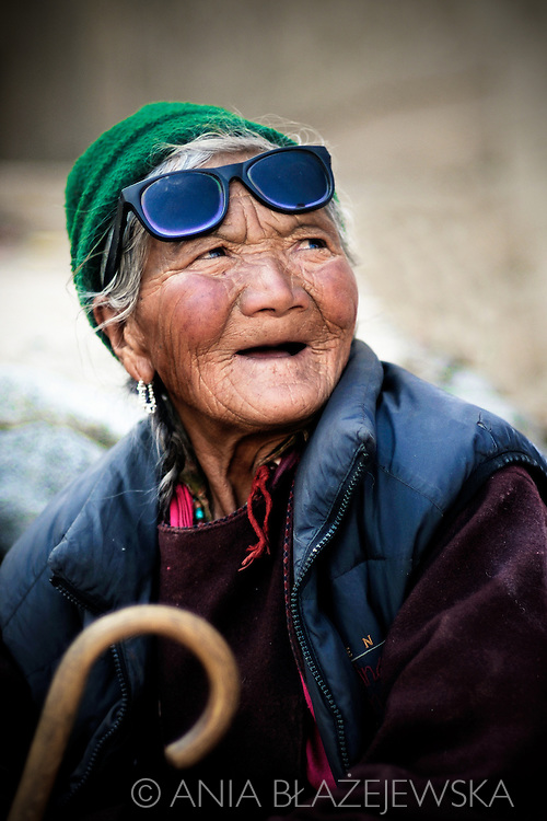 India, Ladakh. Portrait of an elderly ladakhi woman from Phyang.