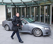 Armed Police with the Prime Ministers Close Protection squad at the BBC this morning, escorting Theresa May to the Andrew Marr show. <br />  BBC Broadcasting House, London, Great Britain <br /> 30th April 2017 <br /> Armed Police <br /> <br /> Photograph by Elliott Franks <br /> Image licensed to Elliott Franks Photography Services