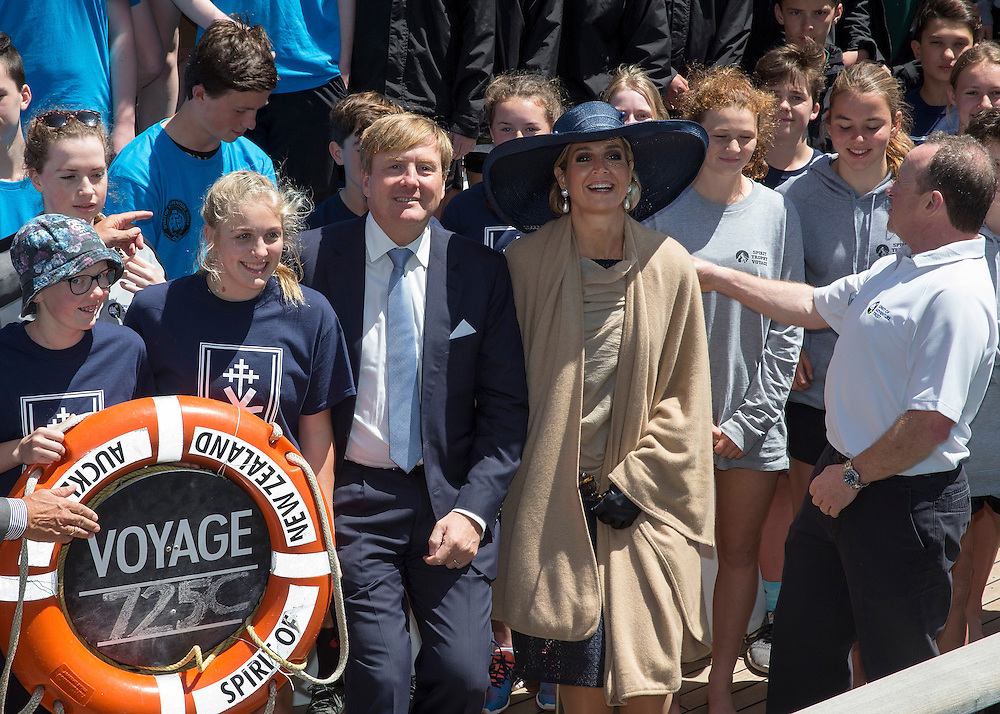 King Willem-Alexander and Queen Maxima of the Netherlands visit the Spirit of New Zealand youth training vessel in Auckland, New Zealand, Wednesday, November 09, 2016.  Credit:SNPA / David Rowland