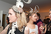 SOPHIE PIPER; ELIZABETH NYGAARD;, WEARING HATS BY KATHRYN ELIZABETH, London On A Plate - launch of new iPhone app.<br /> Morton's Club, 28 Berkeley Square,  London, 1 June 2011<br /> <br /> <br />  , -DO NOT ARCHIVE-© Copyright Photograph by Dafydd Jones. 248 Clapham Rd. London SW9 0PZ. Tel 0207 820 0771. www.dafjones.com.