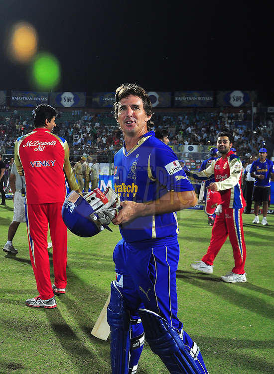 Rajasthan Royals Brad Hodge during match 30 of the the Indian Premier League ( IPL) 2012  between The Rajasthan Royals and the Royal Challengers Bangalore held at the Sawai Mansingh Stadium in Jaipur on the 23rd April 2012..Photo by Arjun Panwar/IPL/SPORTZPICS