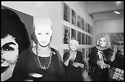 Kathleen Zimbimcki; Adrienne Heinrich; Eleanor Kriedberg wearing Warhol masks. Opening of the Warhol museum. Pittsburg. 1994.<br /> <br /> SUPPLIED FOR ONE-TIME USE ONLY&gt; DO NOT ARCHIVE. &copy; Copyright Photograph by Dafydd Jones 248 Clapham Rd.  London SW90PZ Tel 020 7820 0771 www.dafjones.com