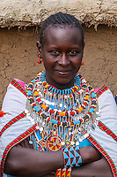 Portrait of Masai woman, Masai Mara, Kenya.
