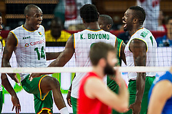 07.09.2014, Centennial Hall, Breslau, POL, FIVB WM, Serbien vs Kamerun, Gruppe A, im Bild Kamerun radosc // Camroon gladness // during the FIVB Volleyball Men's World Championships Pool A Match beween Serbia and Cameroon at the Centennial Hall in Breslau, Poland on 2014/09/07. EXPA Pictures © 2014, PhotoCredit: EXPA/ Newspix/ Sebastian Borowski<br /> <br /> *****ATTENTION - for AUT, SLO, CRO, SRB, BIH, MAZ, TUR, SUI, SWE only*****