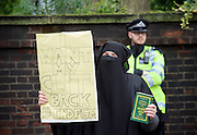 Far right activists protesting outside Regent's Park Mosque in Central London, Great Britain <br /> 3rd April 2015 <br /> <br /> <br /> Members of the English Defence League <br /> <br /> <br /> <br /> Photograph by Elliott Franks <br /> Image licensed to Elliott Franks Photography Services