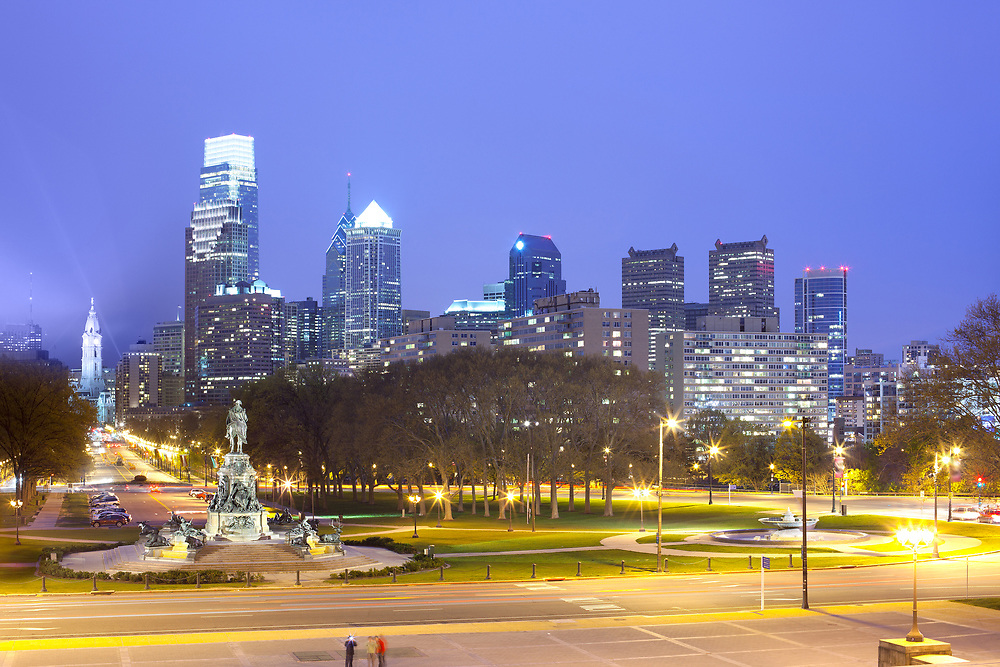 Downtown skyline with City Hall at night, Philadelphia, Pennsylvania, USA