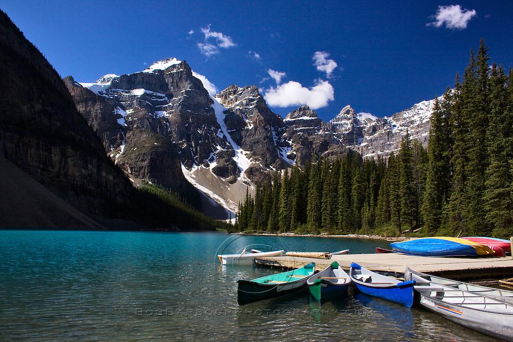 Canoe dock Moraine Lake Banff National Park Alberta, Canada