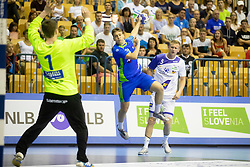 Domen Novak of Slovenia during handball match between National teams of Slovenia and Iceland in Main Round of 2018 EHF U20 Men's European Championship, on July 25, 2018 in Arena Zlatorog, Celje, Slovenia. Photo by Urban Urbanc / Sportida
