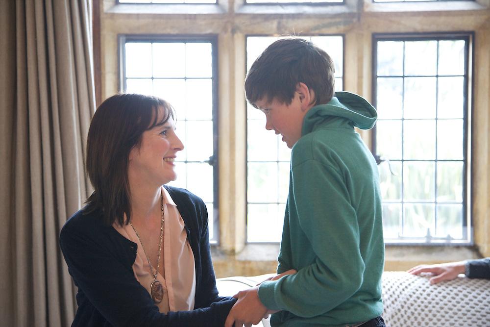 Susannah Baker and Zac Baker (11), in the Baker family living room. Pickwell Manor, Georgeham, North Devon, UK.<br /> CREDIT: Vanessa Berberian for The Wall Street Journal<br /> HOUSESHARE