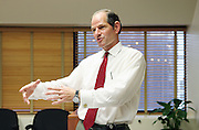 Former Governor and now Adjunct Professor Eliot Spitzer packs up his papers after giving his weekly two and a half hour lecture -- Law and Public Policy, Tuesdays from 3:30 - 6:00pm -- at CCNY in their New Academic Center.