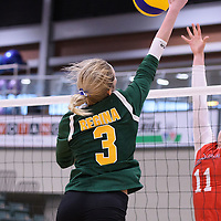 3rd year outside hitter Leah Sywanyk (3) of the Regina Cougars in action during Women's Volleyball home game on January 21 at Centre for Kinesiology, Health and Sport. Credit: Arthur Ward/Arthur Images