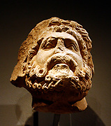 Limestone Head of a Bearded Man, Possibly Jupiter. South Italian, possibly Apolia.  Carved 1200-1300