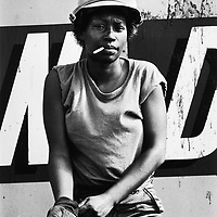 Honduras.1983. A United States army stevedore (docker), taking part in Big Pine manoeuvres, at the time seen as a prelude to an invasion of Nicaragua.