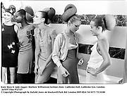 Kate Moss & Jade Jagger. Mathew Williamson fashion show. Ladbroke Hall, Ladbroke Gro. London. 26/9/97 Film 97271f7<br />© Copyright Photograph by Dafydd Jones<br />66 Stockwell Park Rd. London SW9 0DA<br />Tel 0171 733 0108