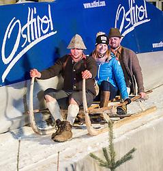 28.12.2013, Hauptplatz, Lienz, AUT, FIS Weltcup Ski Alpin, Lienz, Damen, Siegerehrung Riesentorlauf mit anschließender Auslosung der Startnummern fuer Slalom, im Bild Marlies Schild (AUT) // during the victory ceremony of the giant slalom and the bip draw for slalom, Lienz FIS Ski Alpine World Cup at Hautpplatz in Lienz, Austria on 2013/12/28, EXPA Pictures © 2013 PhotoCredit: EXPA/ Michael Gruber