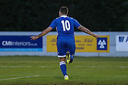 Danny Crow of Lowestoft Town celebrates scoring his team's third goal against Brackley Town to make it 2-3 during the Conference North match at St. James Park, Brackley<br /> Picture by David Horn/Focus Images Ltd +44 7545 970036<br /> 24/01/2015