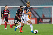 SYDNEY, AUSTRALIA - APRIL 27: Melbourne Victory midfielder Keisuke Honda (4) dribbles at round 27 of the Hyundai A-League Soccer between Western Sydney Wanderers FC and Melbourne Victory on April 27, 2019 at ANZ Stadium in Sydney, Australia. (Photo by Speed Media/Icon Sportswire)