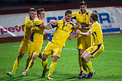 Players of Domzale celebrate after scoring a goal during football match between NK Domzale and NK Celje in 20th Round of PrvaLiga NZS 2012/13  on November 24, 2012 in Sportni park Domzale, Domzale, Slovenia.(Photo By Matic Klansek Velej / Sportida)