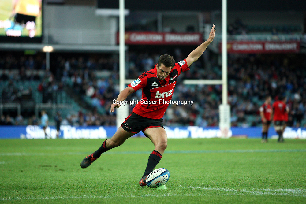 Tom Taylor - NSW Waratahs v Canterbury Crusaders. Sport Rugby Union Provincial Representative Super Rugby. Allianz Stadium SFS. 29 April 2012. Photo by Paul Seiser/Seiser Photography