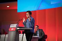 DEU, Deutschland, Germany, Berlin, 30.03.2019: Landesparteitag der Berliner SPD. Rede von Gabriele Bischoff, Präsidentin der Arbeitnehmergruppe im Europäischen Wirtschafts- und Sozialausschuss und Kandidatin der Berliner SPD zur Europawahl.