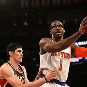 Amar'e Stoudemire, New York Knicks, in action during the New York Knicks vs Milwaukee Bucks, NBA Basketball game at Madison Square Garden, New York. USA. 15th March 2014. Photo Tim Clayton