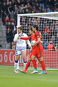 Edinson Roberto Paulo Cavani Gomez (psg) (El Matador) (El Botija) (Florestan) scored a goal from the ball of Goncalo Guedes (PSG) and celebrated with him, Jean-Louis LECA (SC Bastia) during the French championship Ligue 1 football match between Paris Saint-Germain (PSG) and Bastia on May 6, 2017 at Parc des Princes Stadium in Paris, France - Photo Stephane Allaman / ProSportsImages / DPPI