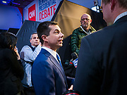 "14 JANUARY 2020 - DES MOINES, IOWA: Former mayor PETE BUTTIGIEG talks to a reporter from Fox News in the ""spin room"" at the CNN Democratic Presidential Debate on the campus of Drake University in Des Moines. This is the last debate before the Iowa Caucuses on Feb. 3.    PHOTO BY JACK KURTZ"