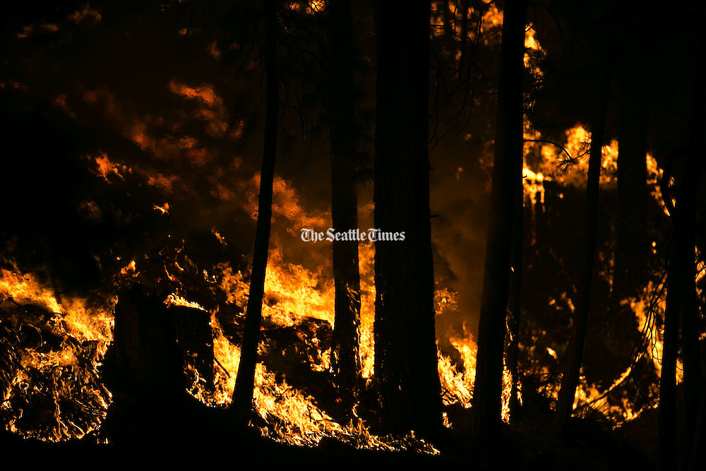 A wildfire chews through fuel in Conconully, threatening houses and prompting a level three evacuation Friday August 21, 2015.<br />