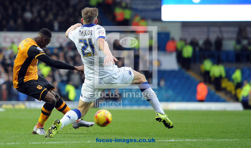 Moses Odubajo of Hull City shoots during the Sky Bet Championship match at Elland Road, Leeds<br /> Picture by Graham Crowther/Focus Images Ltd +44 7763 140036<br /> 05/12/2015