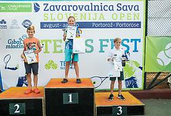 Nejc Peterlin, Nerej Benedicic Vidovic and Ivan Pivko at Tenis fest ceremony during Day 7 at ATP Challenger Zavarovalnica Sava Slovenia Open 2018, on August 9, 2018 in Sports centre, Portoroz/Portorose, Slovenia. Photo by Vid Ponikvar / Sportida