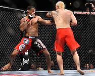 "ATLANTA, GEORGIA, SEPTEMBER 6, 2008: Roan Carneiro (left) and Ryo Chonan trade blows during ""UFC 88: Breakthrough"" inside Philips Arena in Atlanta, Georgia on September 6, 2008"