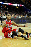 Apr 27, 2010; Cleveland, OH, USA; Chicago Bulls guard Derrick Rose (1) reacts to a call during the third period in game five against the Cleveland Cavaliers in the first round of the 2010 NBA playoffs at Quicken Loans Arena.  Mandatory Credit: Jason Miller-US PRESSWIRE
