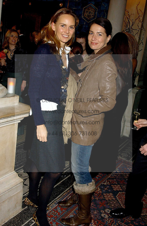 Left to right, HELENA BOAS and YANA PEEL at a party hosted by Tanner Krolle held at Leighton House, 12 Holland Park Road, London W14 on 8th December 2005.<br />