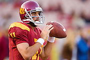 University of Southern California Trojan quarterback Matt Leinart warms up before a 70 to 17 win over the Arkansas Razorbacks on September 17, 2005 at Los Angeles Memorial Coliseum in Los Angeles, California..Mandatory Credit: Wesley Hitt/Icon SMI