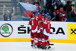 Team Czech Republic celebrate after scoring a goal during ice-hockey match between Czech Republic and Denmark of Group D of IIHF 2011 World Championship Slovakia, on May 2, 2011 in Orange Arena, Bratislava, Slovakia. (Photo by Matic Klansek Velej / Sportida)