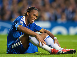 LONDON, ENGLAND - Wednesday, May 6, 2009: Chelsea's Didier Drogba looks utterly dejected after Barcelona's dramatic injury time winning away goal victory during the UEFA Champions League Semi-Final 2nd Leg match at Stamford Bridge. (Photo by David Rawcliffe/Propaganda)