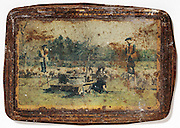 rusty metal cookies box cover with a classic outdoor scene