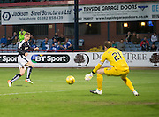 Kilmarnock&rsquo;s Jamie MacDonald denies Dundee&rsquo;s Rory Loy - Dundee v Kilmarnock, Ladbrokes Scottish Premiership at Dens Park<br /> <br />  - &copy; David Young - www.davidyoungphoto.co.uk - email: davidyoungphoto@gmail.com