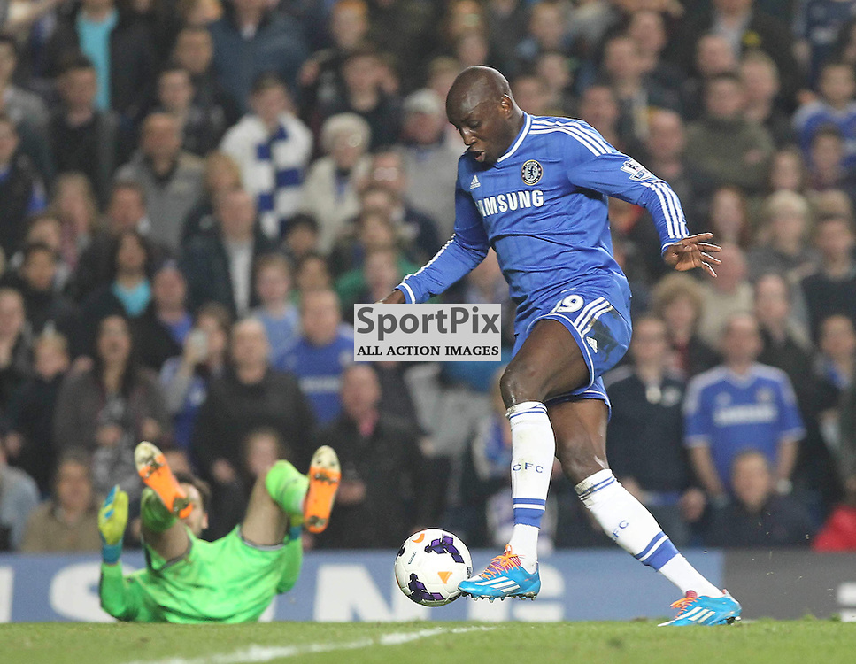 Chelsea's Demba Ba scores during the English Barclays Premiership match between Chelsea FC and Tottenham Hotspur FC at Stamford Bridge, London, 8th March 2014 © Phil Duncan | SportPix.org.uk