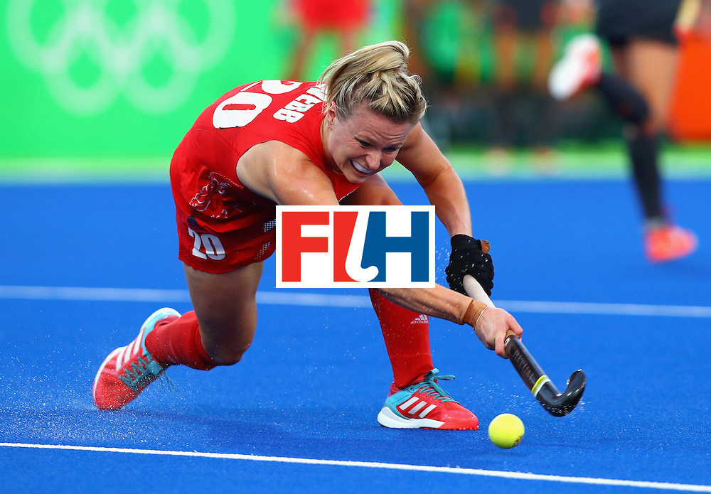RIO DE JANEIRO, BRAZIL - AUGUST 19:  Hollie Webb of Great Britain in action during the Women's Gold Medal Match against the Netherlands on Day 14 of the Rio 2016 Olympic Games at the Olympic Hockey Centre on August 19, 2016 in Rio de Janeiro, Brazil.  (Photo by Tom Pennington/Getty Images)