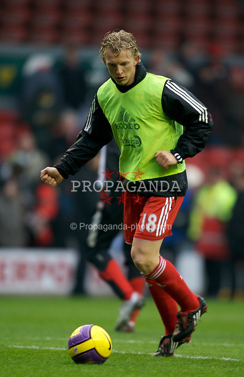 LIVERPOOL, ENGLAND - Sunday, December 16, 2007: Liverpool's Dirk Kuyt before the Premiership match against Manchester United at Anfield. (Photo by David Rawcliffe/Propaganda)