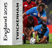 Edoardo Gori (Italy's scrum half) almost scoring a try for Italy during the Rugby World Cup Pool D match between France and Italy at Twickenham, Richmond, United Kingdom on 19 September 2015. Photo by Matthew Redman.
