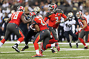 NEW ORLEANS, LA - SEPTEMBER 20:  Jameis Winston #3 hands off the ball to Doug Martin #22 of the Tampa Bay Buccaneers during a game against the New Orleans Saints at Mercedes-Benz Superdome on September 20, 2015 in New Orleans Louisiana.  The Buccaneers defeated the Saints 26-19.  (Photo by Wesley Hitt/Getty Images) *** Local Caption *** Jameis Winston; Doug Martin