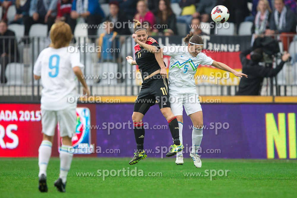 Lucija Grad of Slovenia vs Anja Mittag of Germany during FIFA Women's World Cup 2015 Group A qualification match between Slovenia and Germany on October 26, 2013 in SRC Bonifika, Koper, Slovenia. (Photo by Matic Klansek Velej / Sportida.com)