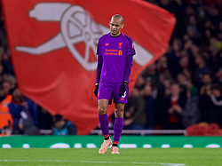 LONDON, ENGLAND - Saturday, November 3, 2018: Liverpool's Fabio Henrique Tavares 'Fabinho' looks dejected as Arsenal score an equalising goal during the FA Premier League match between Arsenal FC and Liverpool FC at Emirates Stadium. (Pic by David Rawcliffe/Propaganda)