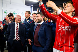 Bristol City owner Steve Lansdown and  Head Coach Lee Johnson react as they are drawn against Manchester City in the semi finals after Korey Smith of Bristol City scores a goal in the 93rd minute to make it 2-1 and win the match for his side - Rogan/JMP - 20/12/2017 - Ashton Gate Stadium - Bristol, England - Bristol City v Manchester United - Carabao Cup Quarter Final.