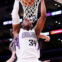 28 February 2014: Sacramento Kings power forward Jason Thompson (34) dunks the ball during the Los Angeles Lakers 126-122 victory over the Sacramento Kings at the Staples Center, Los Angeles, California, USA.