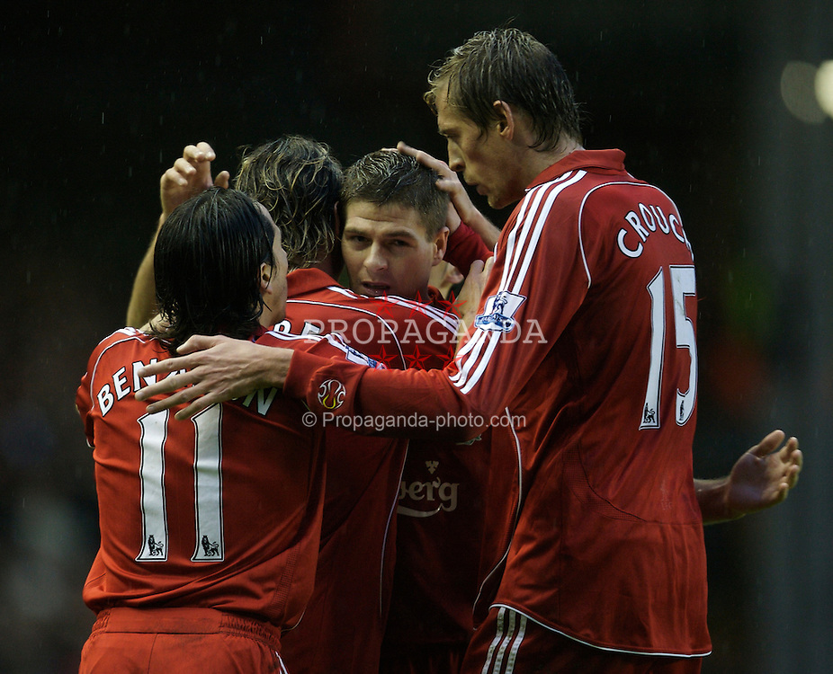 LIVERPOOL, ENGLAND - Sunday, December 2, 2007: Liverpool's Fernando Torres celebrates scoring the second goal against Bolton Wanderers, with his team-mates Yossi Benayoun, captain Steven Gerrard MBE and Peter Crouch, during the Premiership match at Anfield. (Photo by David Rawcliffe/Propaganda)