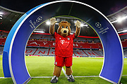 Bayern Munich mascot Berni inside the Allianz Arena before the Champions League match between Bayern Munich and Liverpool at the Allianz Arena, Munich, Germany, on 13 March 2019.
