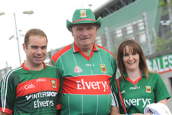 Aogan Gallagher, John Finnegan and Patricia Irwin from Belmullet at McHale park on saturday evening last.<br />Pic Conor McKeown